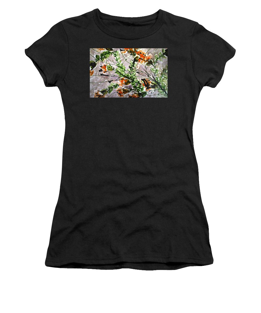 Flowers Women's T-Shirt (Athletic Fit) featuring the painting Divine Blooms by Baljit Chadha
