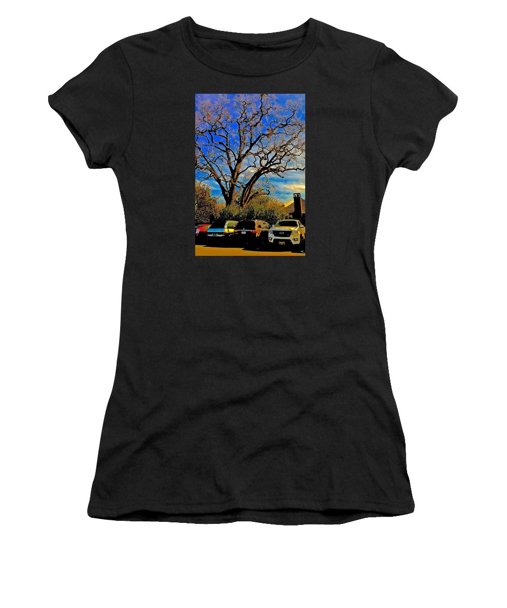 365 012716 Ancient Valley Oak And Parking Women's T-Shirt (Athletic Fit) featuring the photograph 365 012716 Ancient Valley Oak And Parking by Scott L Holtslander