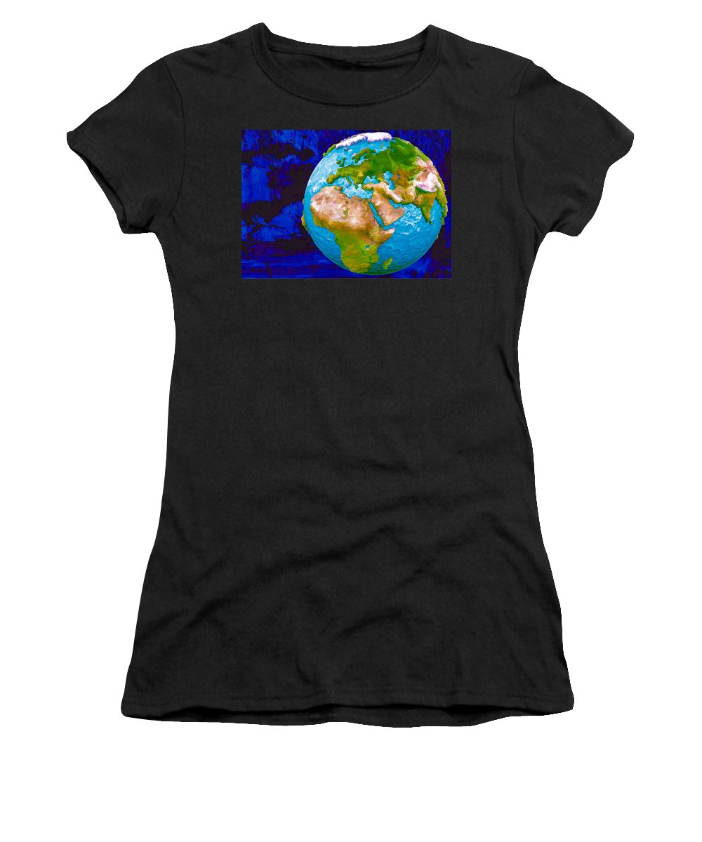 3d Render Of Planet Earth Women's T-Shirt (Athletic Fit) featuring the digital art 3d Render Of Planet Earth 6 by Jeelan Clark