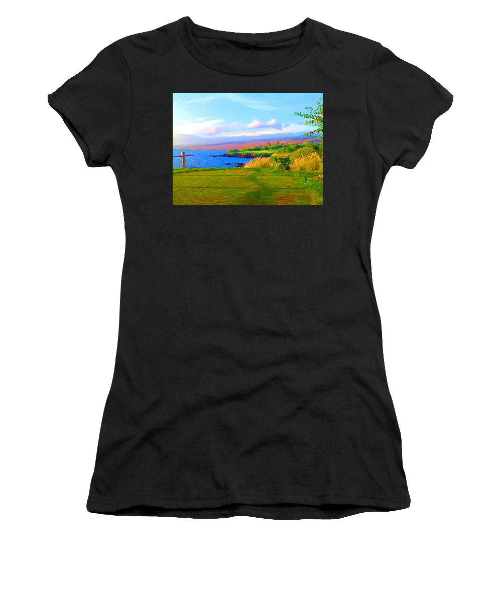Golf Women's T-Shirt (Athletic Fit) featuring the photograph 3rd Across The Bay At Mauna Kea by Allen Lawrence