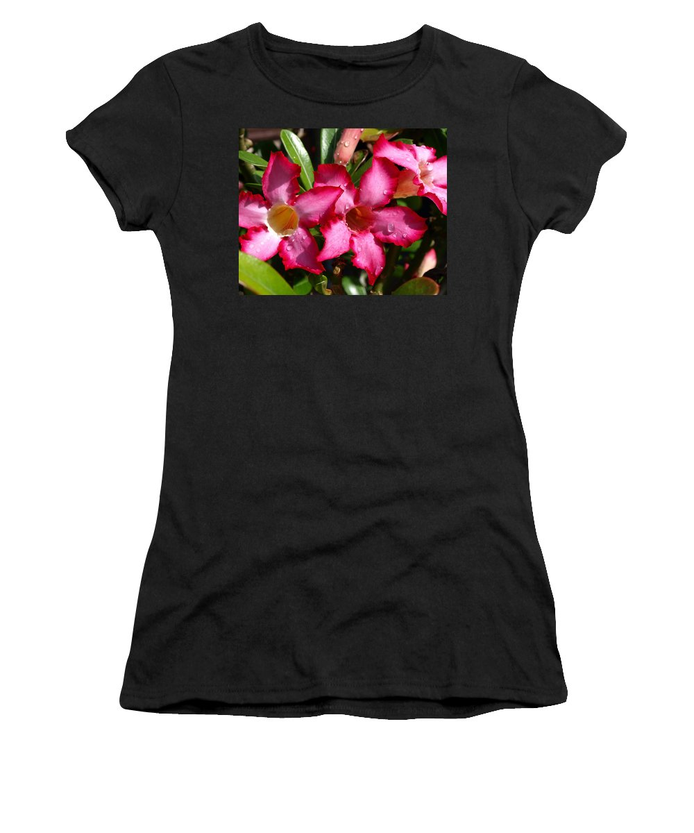 Desert Rose; Desert; Rose; Red; Pink; Flower; Bush; Garden; Florida; Plant; Adenium; Obesum; Africa; Women's T-Shirt (Athletic Fit) featuring the photograph Desert Rose by Allan Hughes