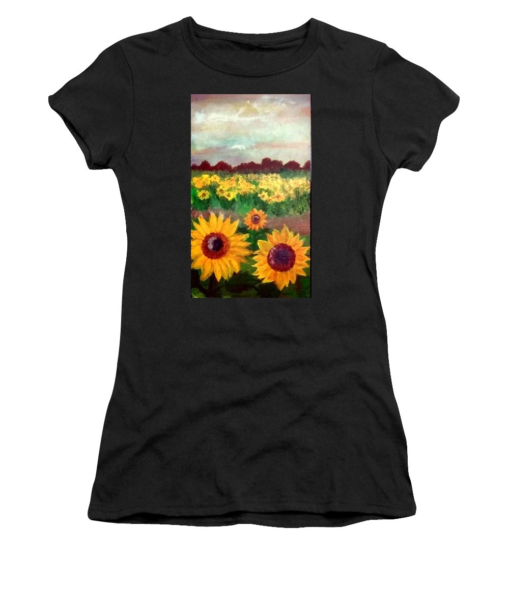 Women's T-Shirt (Athletic Fit) featuring the painting Field Of Flowers by Ashlee Lewis