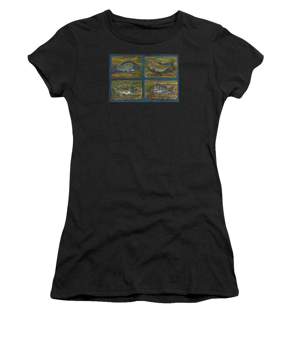 Folkartanna Women's T-Shirt (Athletic Fit) featuring the painting 4 Fishes by Anna Folkartanna Maciejewska-Dyba