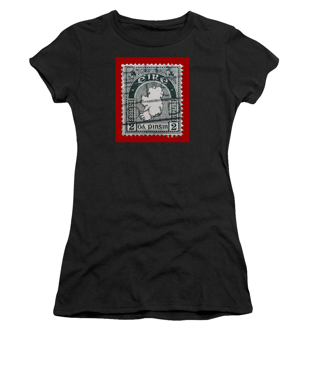Vintage Irish Postage Stamp Women's T-Shirt (Athletic Fit) featuring the photograph Irish Postage Stamp by James Hill