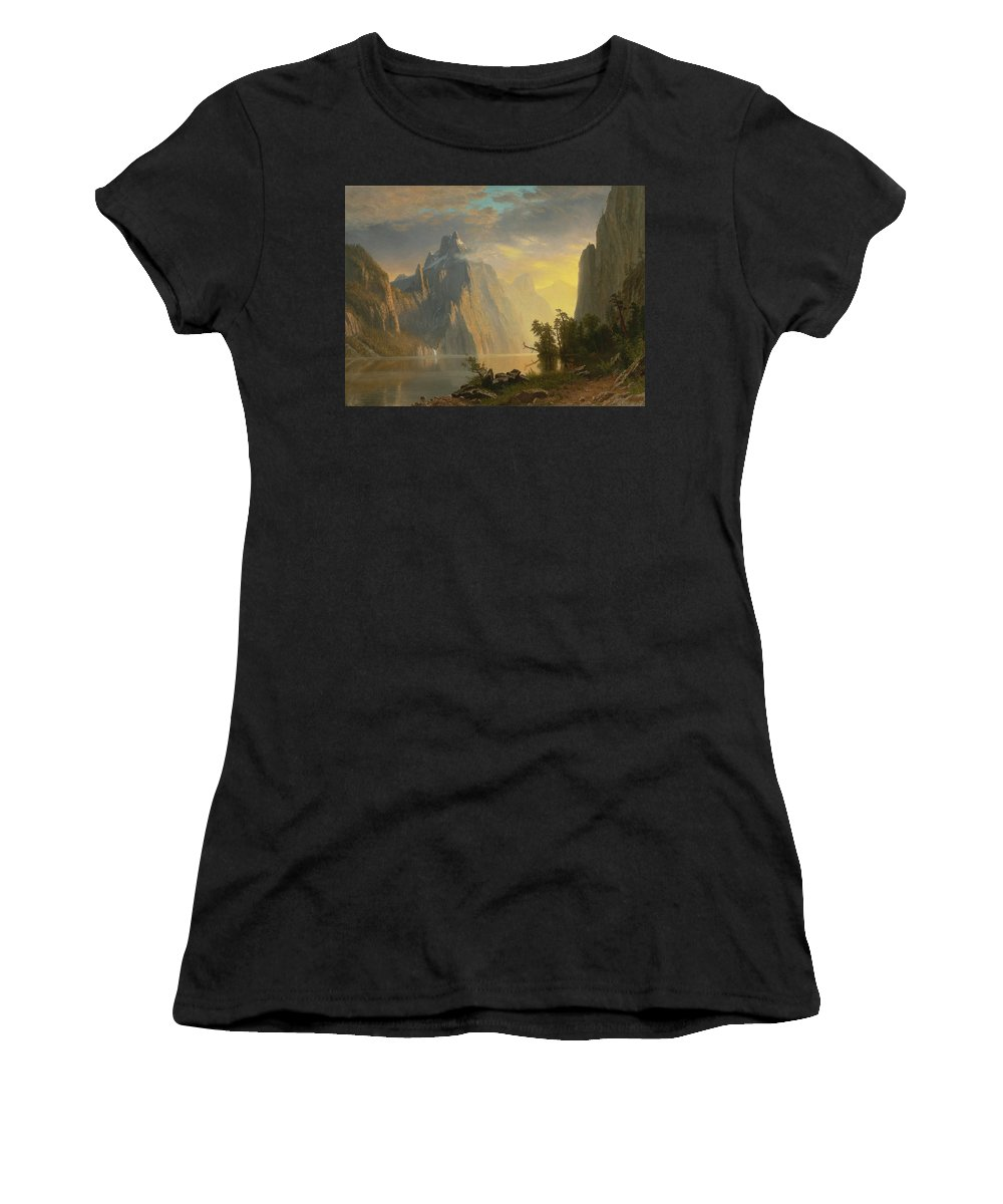 Landscape By Albert Bierstadt Women's T-Shirt (Athletic Fit) featuring the painting Landscape  by Albert Bierstadt