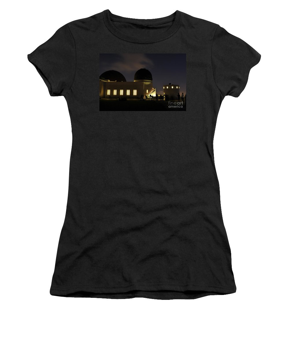 Clay Women's T-Shirt featuring the photograph Night At Griffeth Observatory by Clayton Bruster