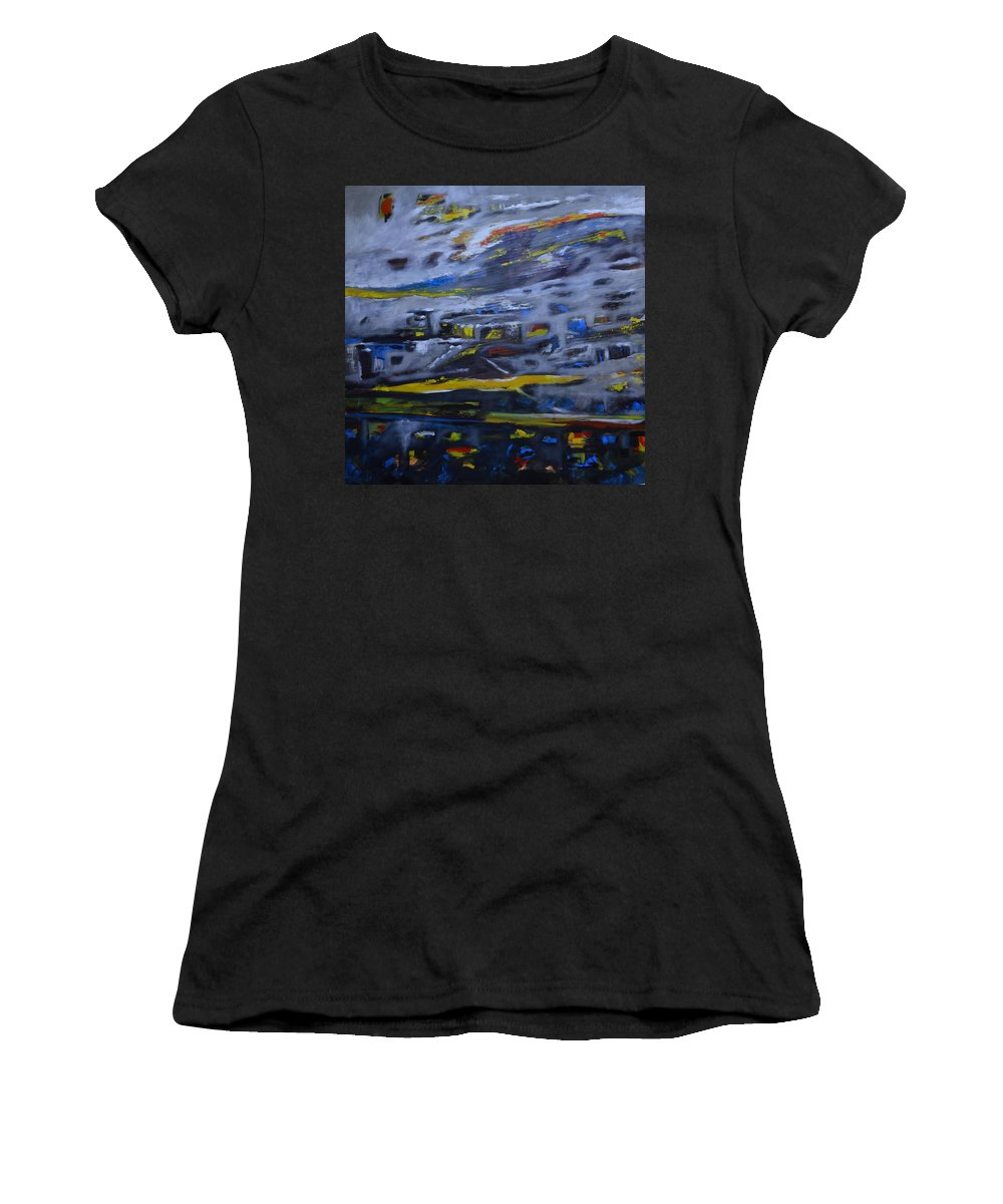 Women's T-Shirt (Athletic Fit) featuring the painting No Name by Issam Youssef