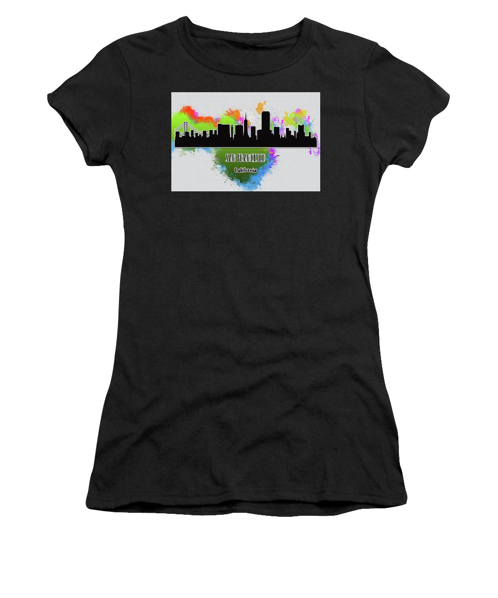 Anna Maloverjan Women's T-Shirt featuring the digital art San Francisco Skyline Silhouette by Anna Maloverjan