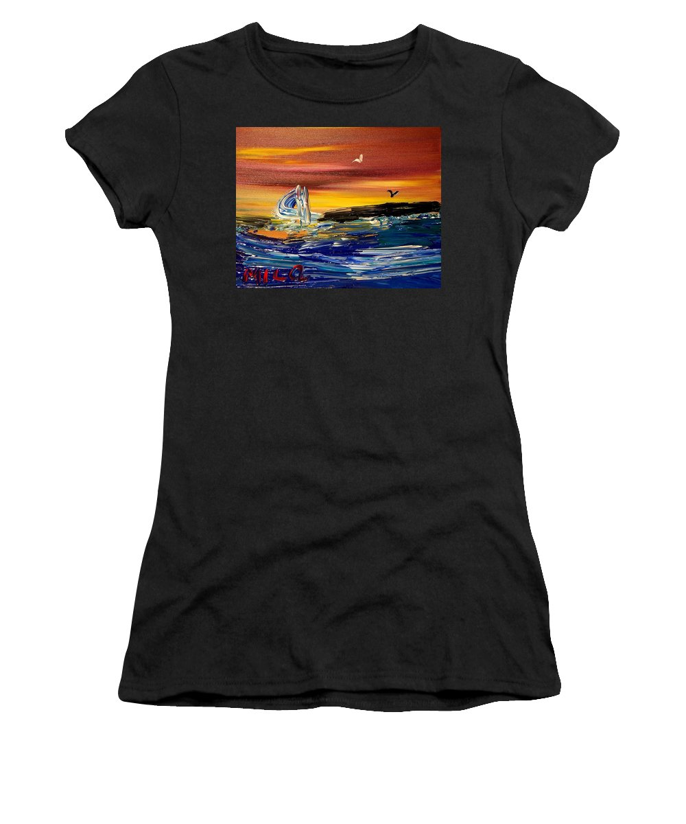 Women's T-Shirt (Athletic Fit) featuring the painting Seascape by Mark Kazav