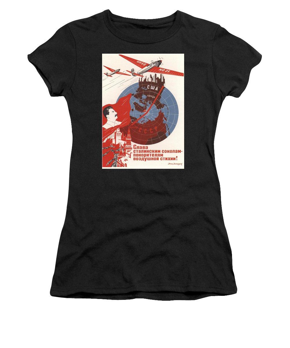 Stalin Women's T-Shirt (Athletic Fit) featuring the mixed media Stalin Soviet Propaganda Poster by Soviet Art