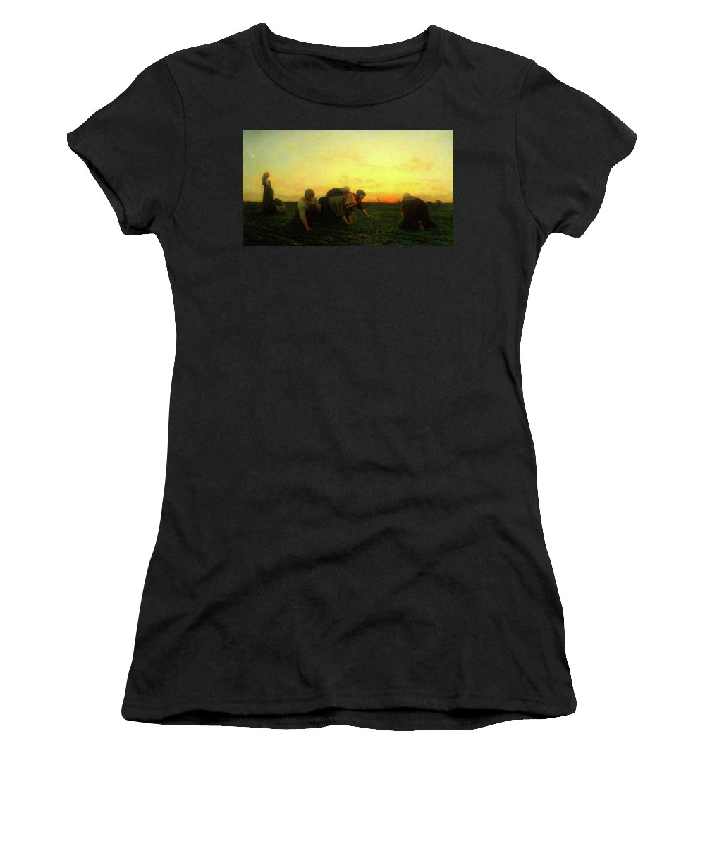 Painting Women's T-Shirt featuring the painting The Weeders by Mountain Dreams