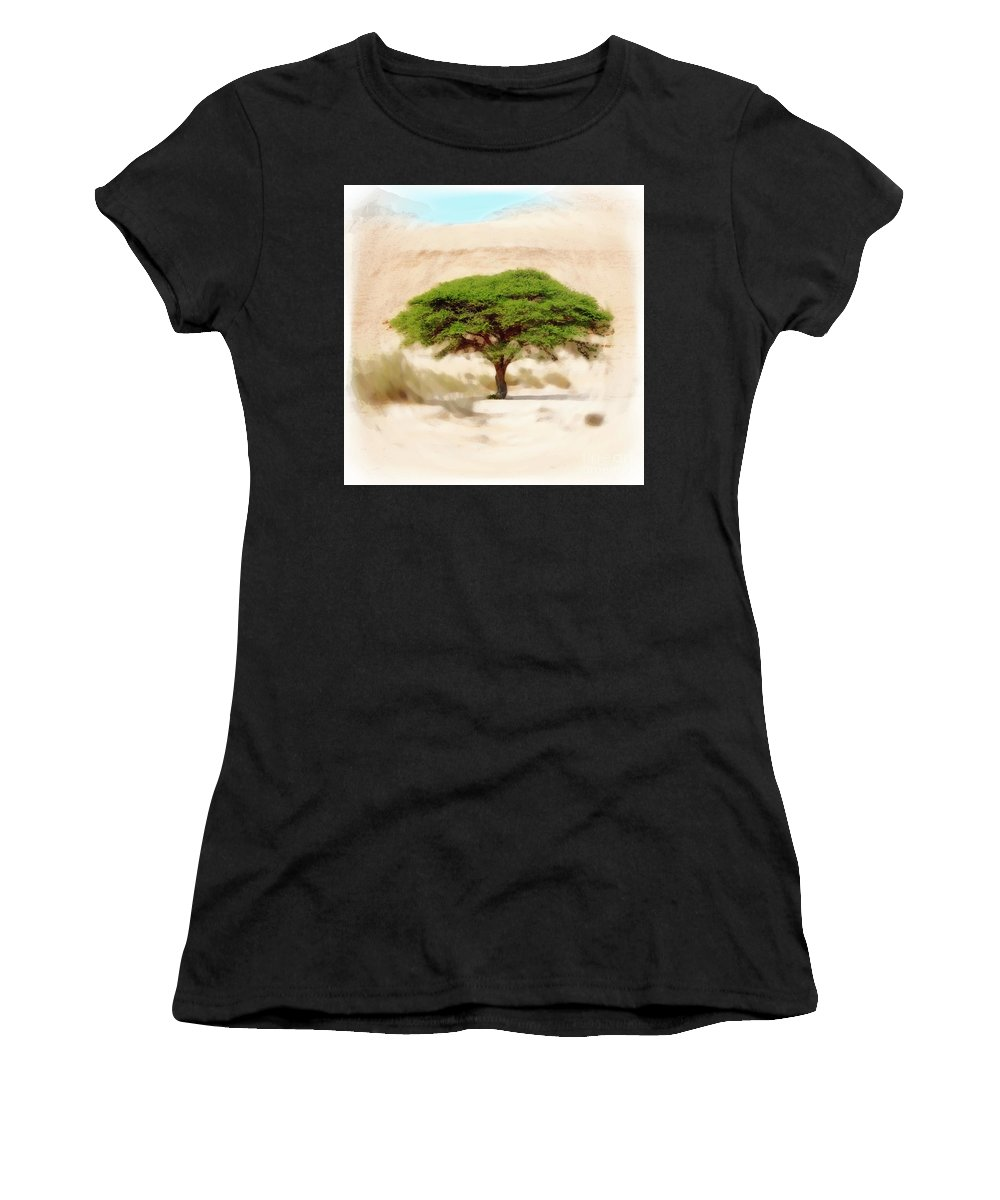 Israel Women's T-Shirt (Athletic Fit) featuring the photograph Umbrella Thorn Acacia Acacia Tortilis, Negev Israel by Humourous Quotes