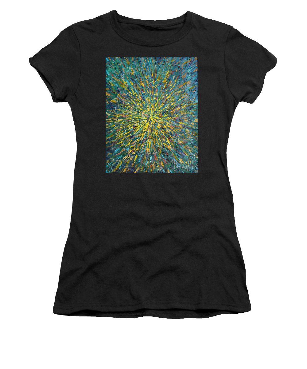 Abstract Women's T-Shirt (Athletic Fit) featuring the painting Untitled by Dean Triolo