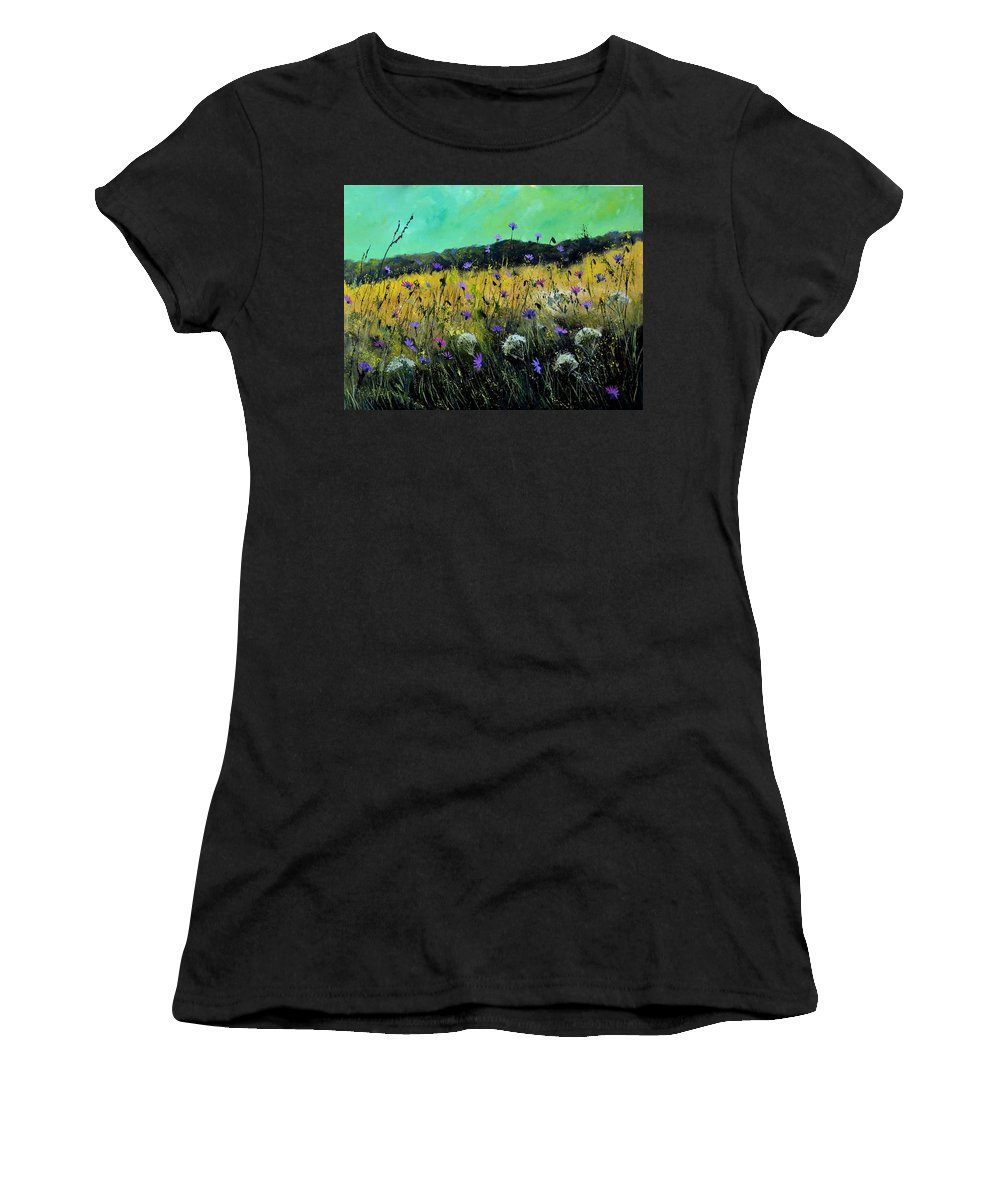 Landscape Women's T-Shirt (Athletic Fit) featuring the painting Wild Flowers by Pol Ledent