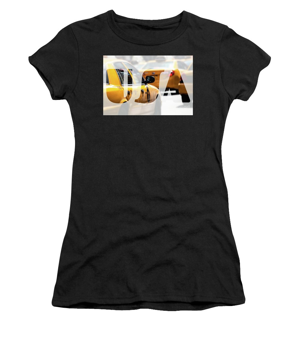 Advertisements Women's T-Shirt (Athletic Fit) featuring the photograph Yellow Cab Speeds Through Times Square In New York, Ny, Usa. by Mariusz Prusaczyk