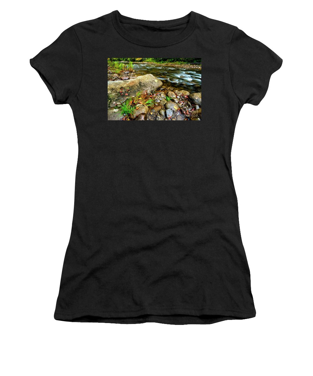 Williams River Women's T-Shirt (Athletic Fit) featuring the photograph Fall Along Williams River by Thomas R Fletcher