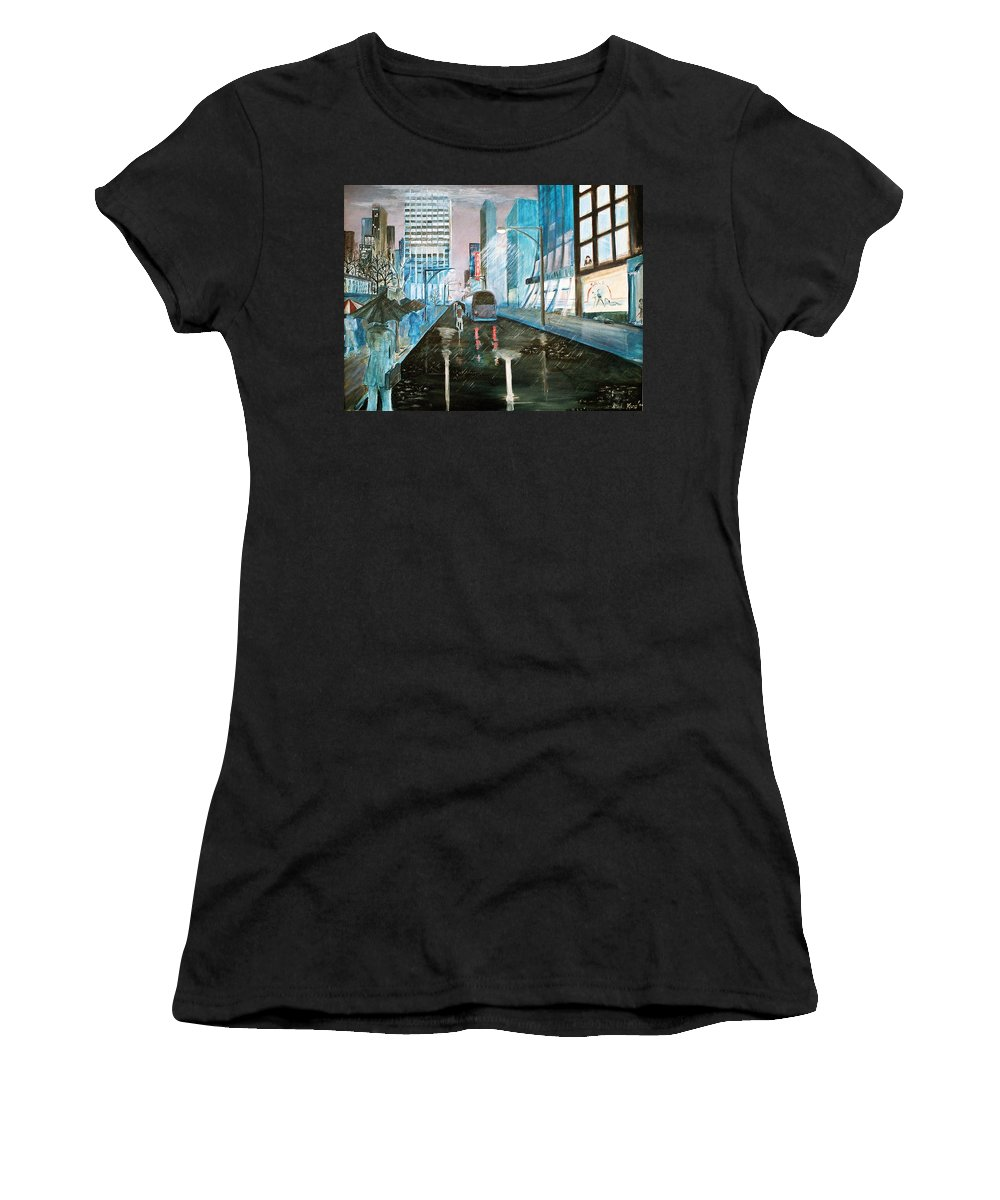 Street Scape Women's T-Shirt featuring the painting 42nd Street Blue by Steve Karol