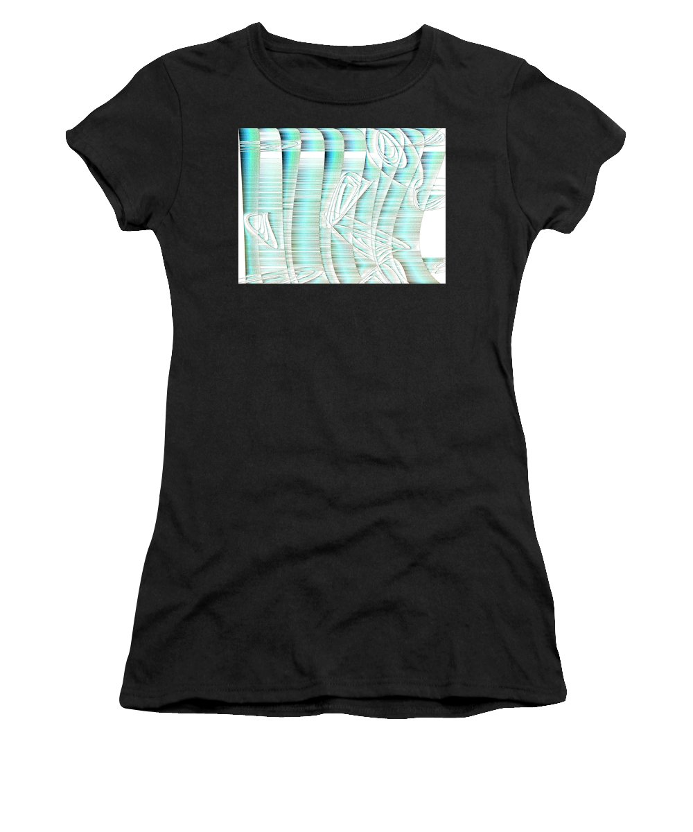 Rithmart Abstract Fade Fading Lines Organic Random Computer Digital Shapes Athens Changing Colors Directions Fading Lines Shapes Women's T-Shirt featuring the digital art 4x3.85-#rithmart by Gareth Lewis