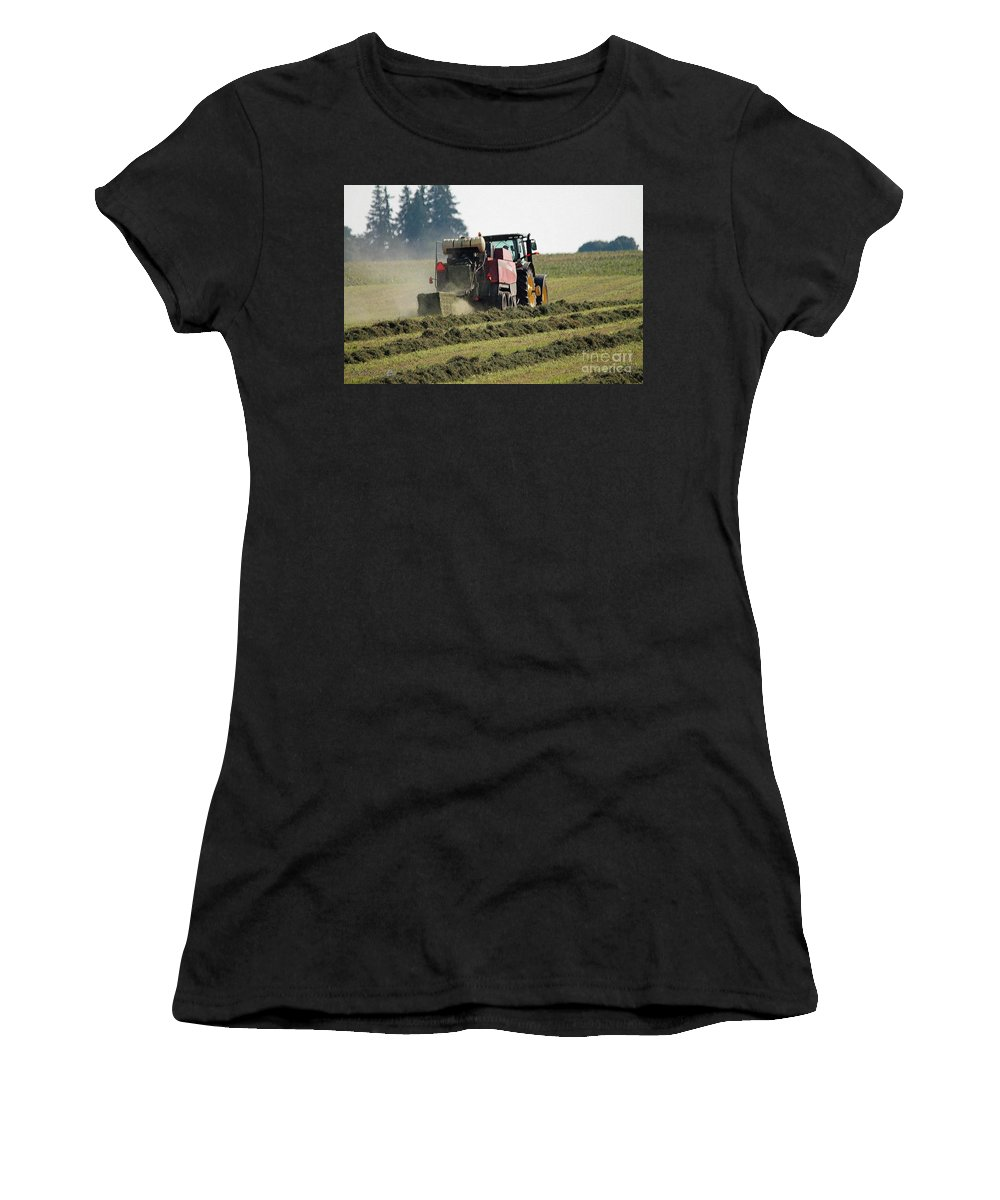 Farm Women's T-Shirt (Athletic Fit) featuring the painting Baling Hay by J McCombie