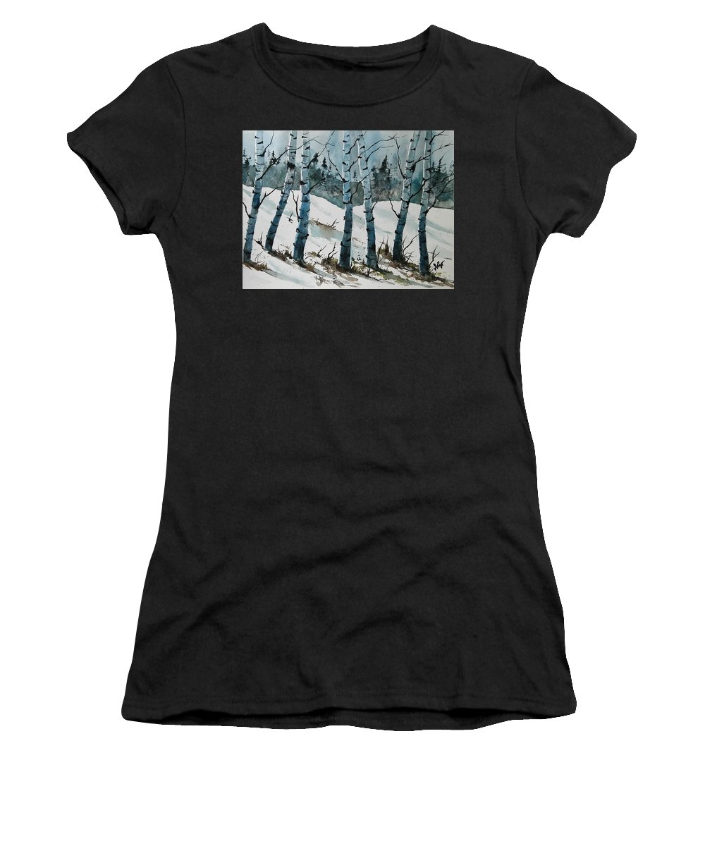 Birch Trees Women's T-Shirt (Athletic Fit) featuring the painting Birch Trees by James Lagasse
