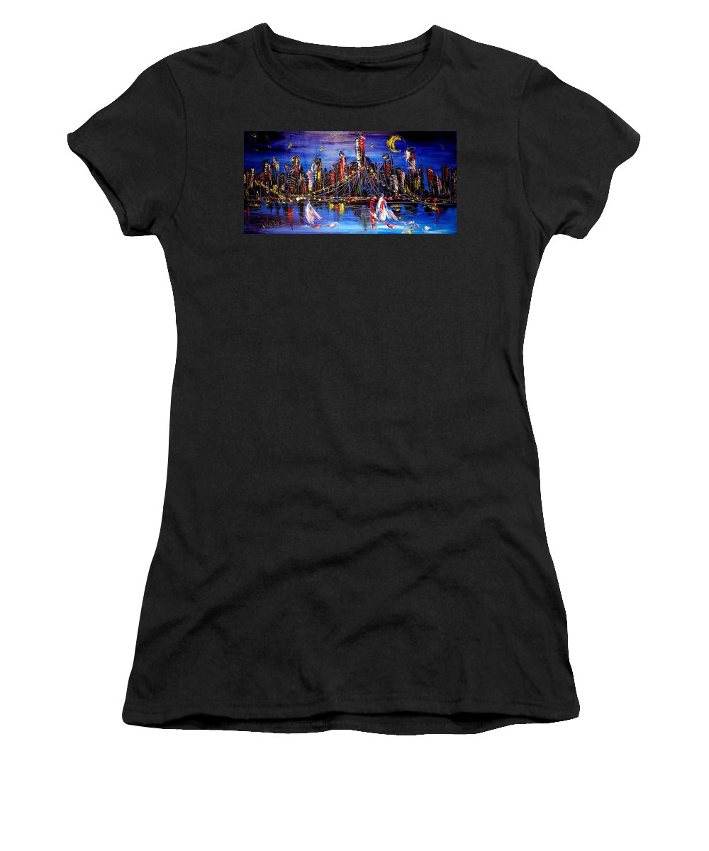 Newyork Women's T-Shirt (Athletic Fit) featuring the painting Cityscape by Mark Kazav