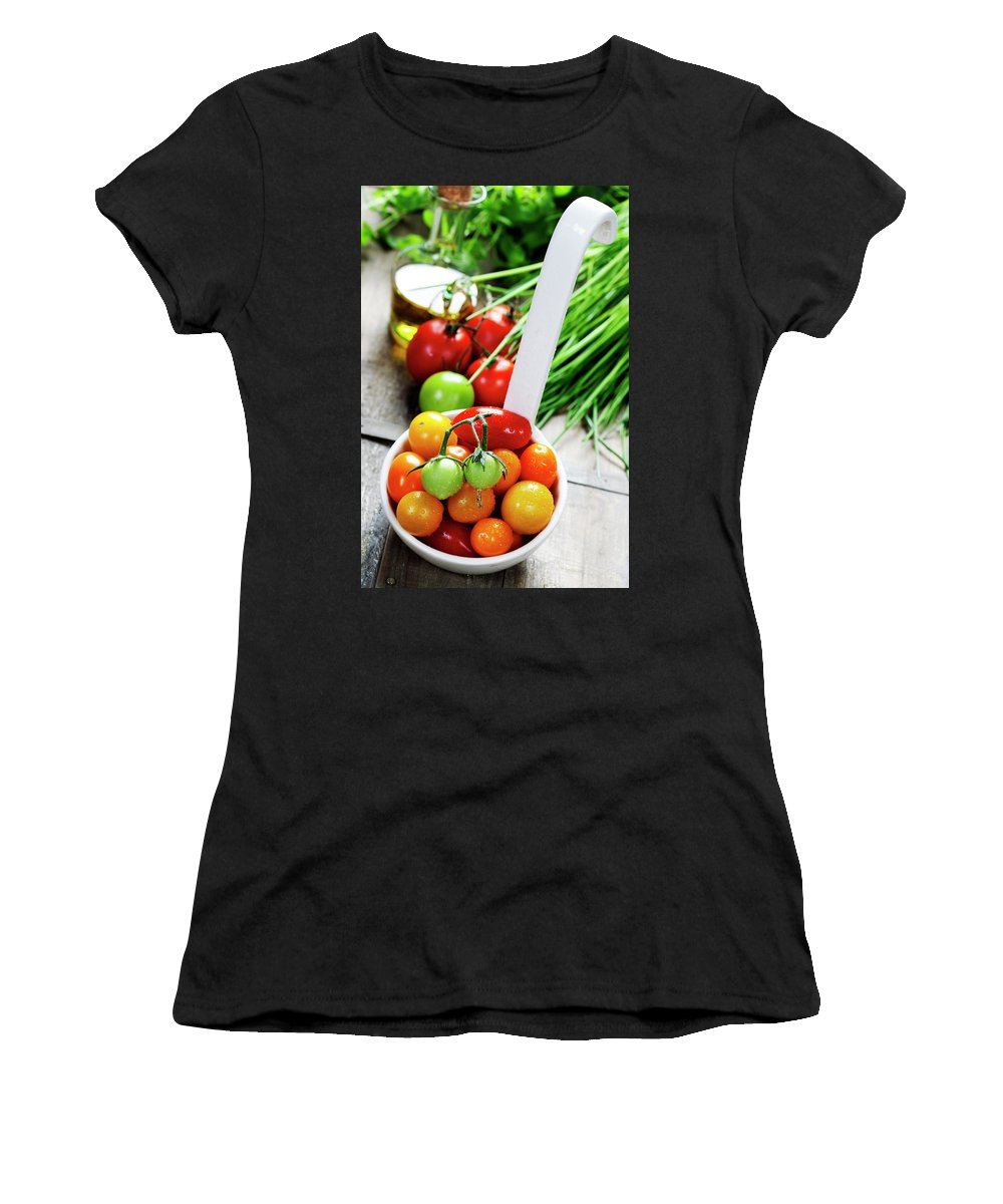 Assortment Women's T-Shirt (Athletic Fit) featuring the photograph Fresh Tomatoes by Natalia Klenova