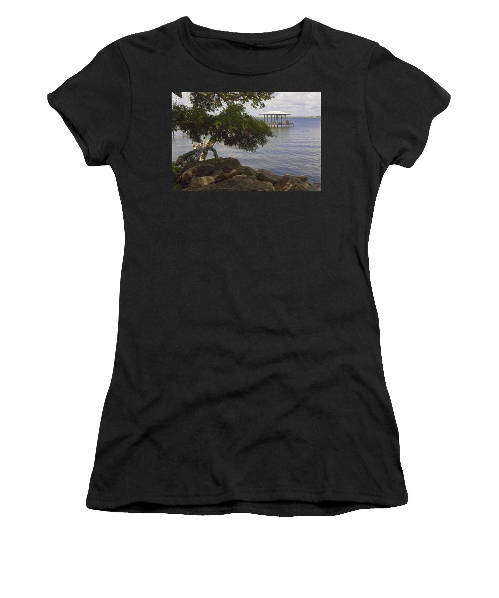 Riverfront Women's T-Shirt (Athletic Fit) featuring the photograph Indian River Lagoon by Allan Hughes