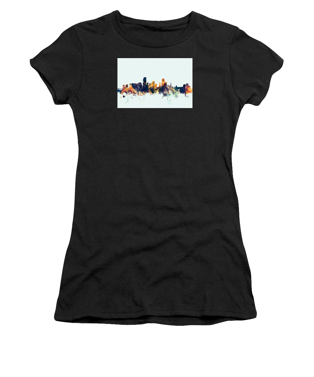 United States Women's T-Shirt (Athletic Fit) featuring the digital art Miami Florida Skyline by Michael Tompsett