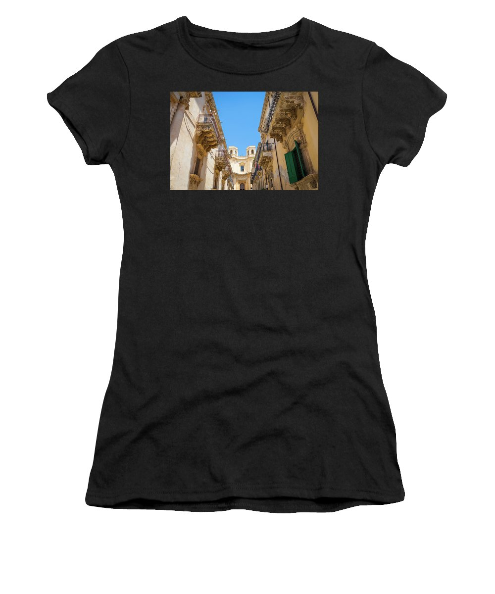 Aged Women's T-Shirt featuring the photograph Noto, Sicily, Italy - Detail Of Baroque Balcony, 1750 by Paolo Modena