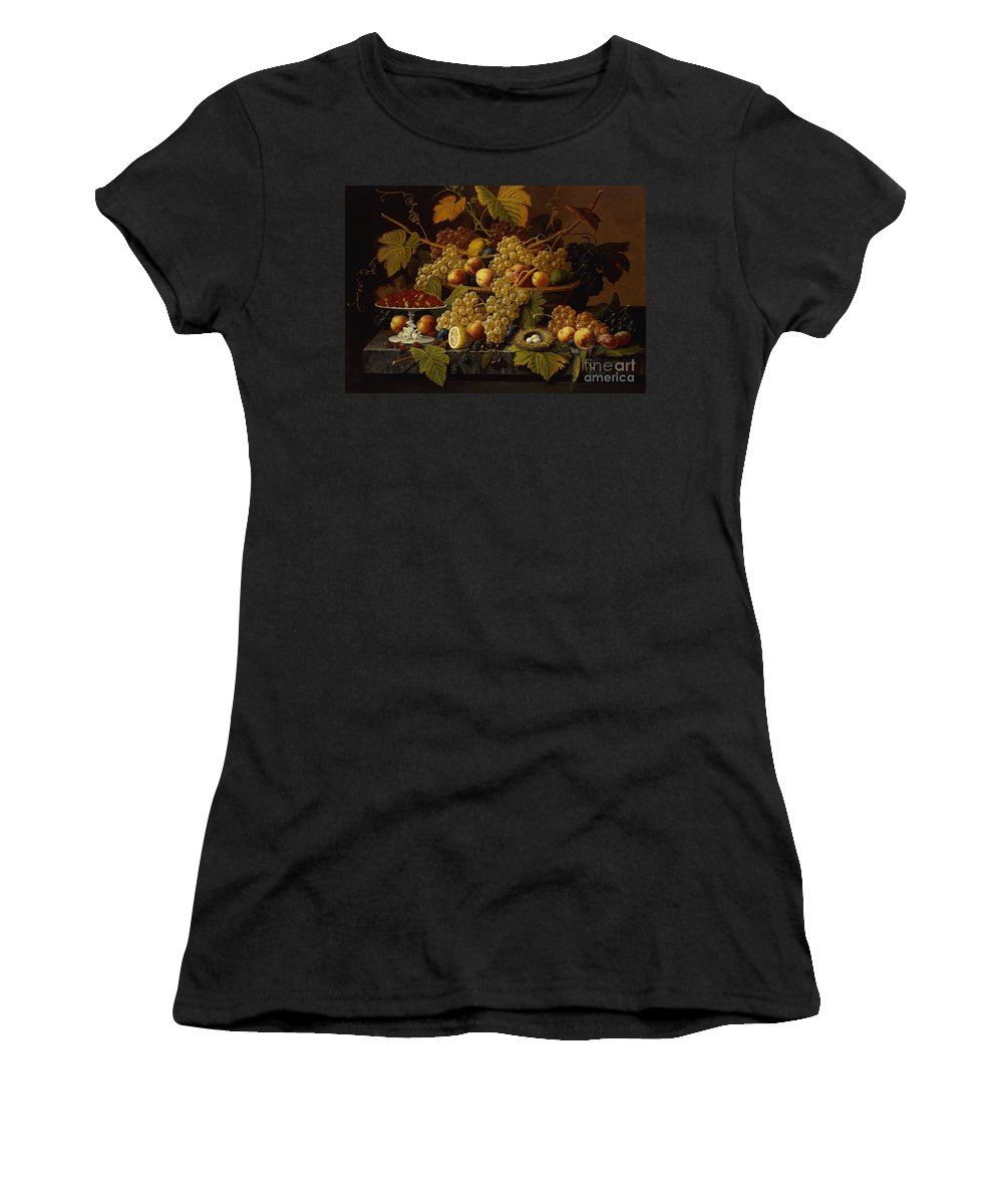 Still Life With Fruit Women's T-Shirt (Athletic Fit) featuring the painting Still Life With Fruit by Severin Roesen