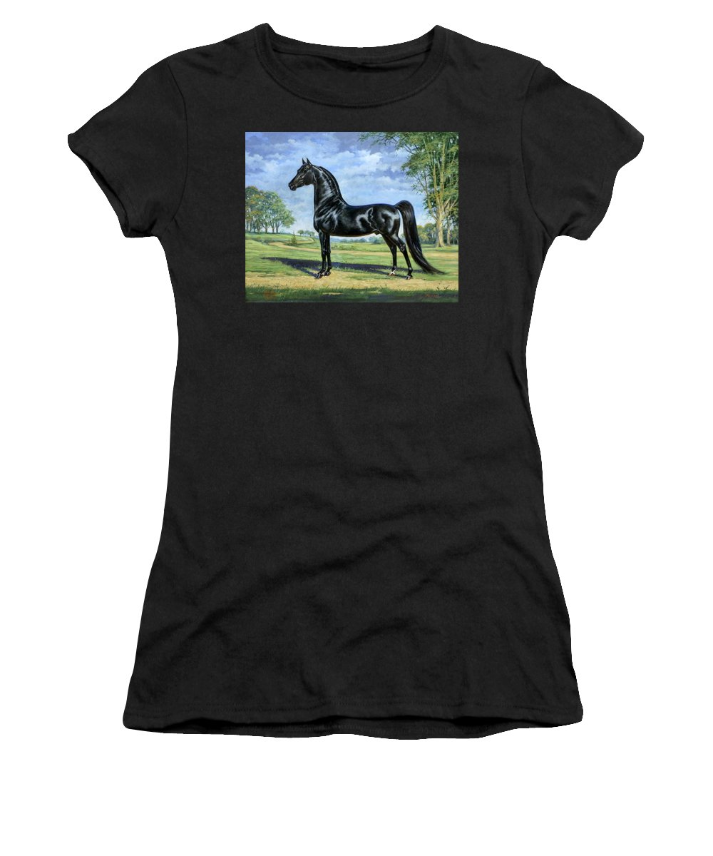 Jeanne Mellin Women's T-Shirt (Athletic Fit) featuring the painting #50 - Mizrahi by Jeanne Mellin Herrick