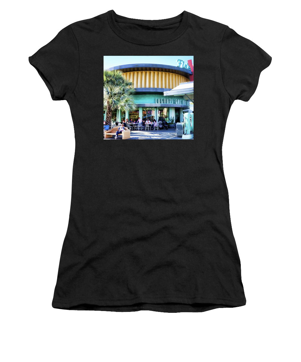 50 Women's T-Shirt (Athletic Fit) featuring the photograph 50's Gas Station by Chuck Kuhn