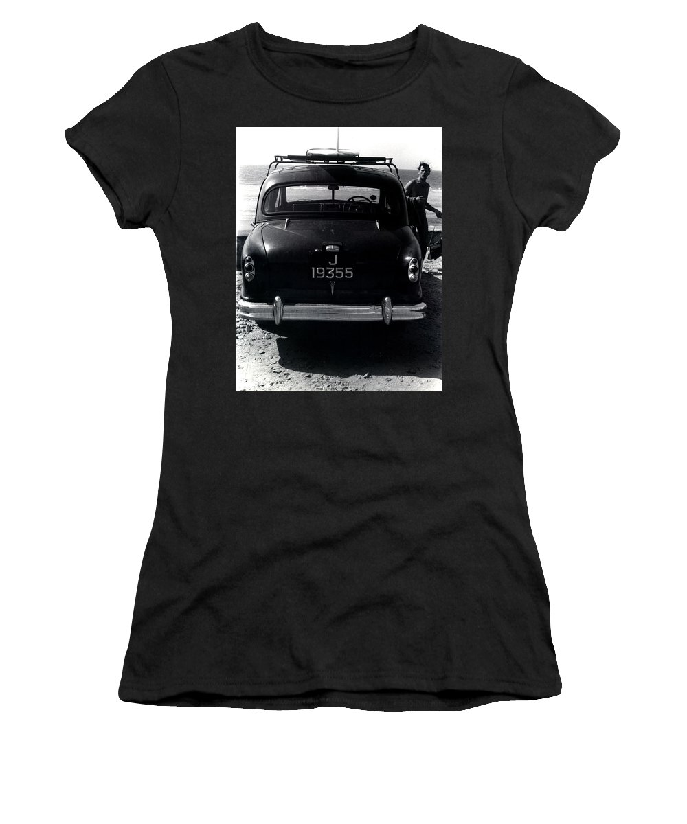 Surf Women's T-Shirt (Athletic Fit) featuring the photograph 50's Surfer by Charles Stuart