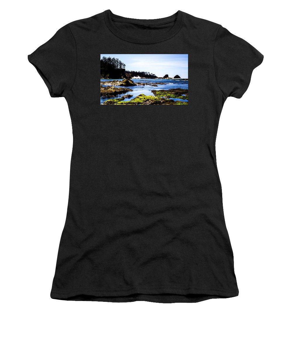 Women's T-Shirt featuring the photograph Sunset Bay Beach by Angus Hooper Iii