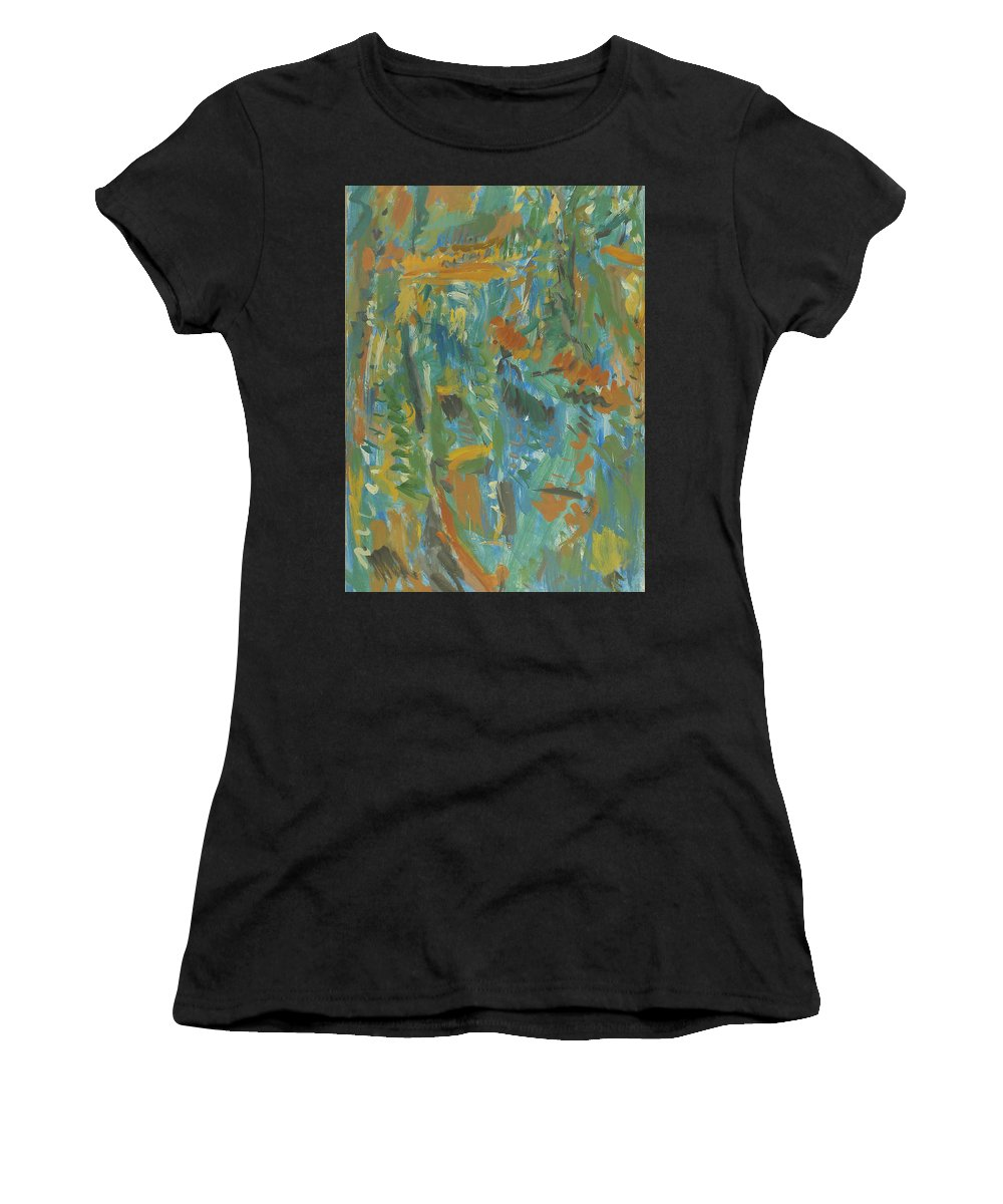 River Women's T-Shirt featuring the painting Boats by Robert Nizamov