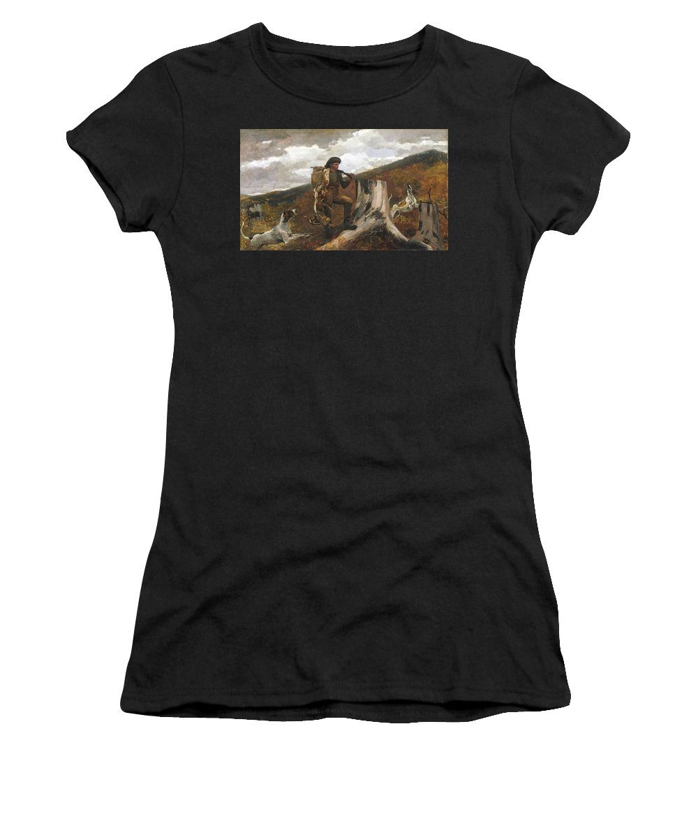 Winslow Homer Women's T-Shirt featuring the painting A Huntsman And Dogs by Winslow Homer
