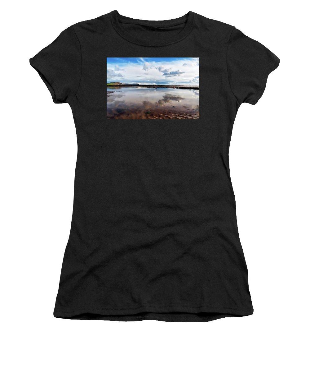 Lyme-regis Women's T-Shirt (Athletic Fit) featuring the photograph Back Beach - Lyme Regis by Susie Peek