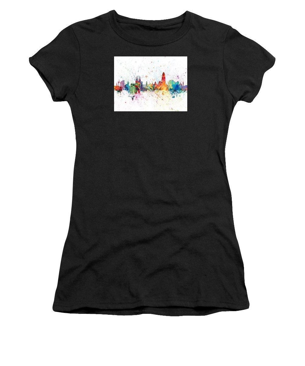 054152577 Barcelona Spain Skyline Women s T-Shirt for Sale by Michael Tompsett