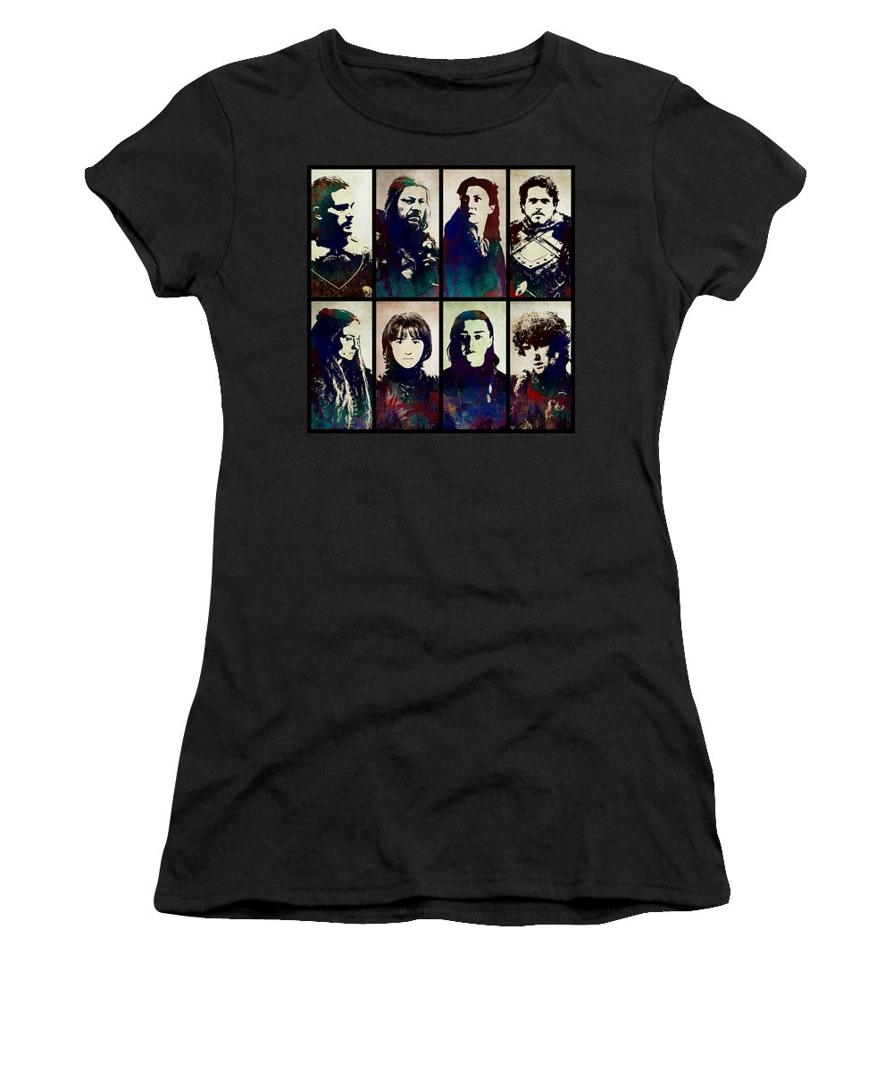 Game Of Thrones Women's T-Shirt (Athletic Fit) featuring the digital art Game Of Thrones. House Stark. by Anna J Davis