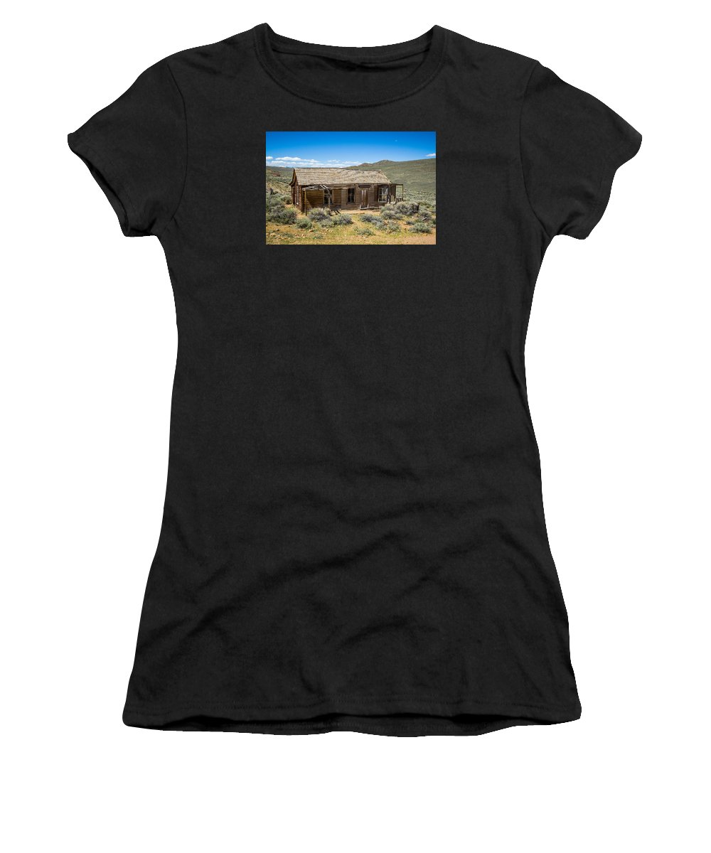 Bodie Women's T-Shirt (Athletic Fit) featuring the photograph Homestead, Bodie Ghost Town by John Bosma