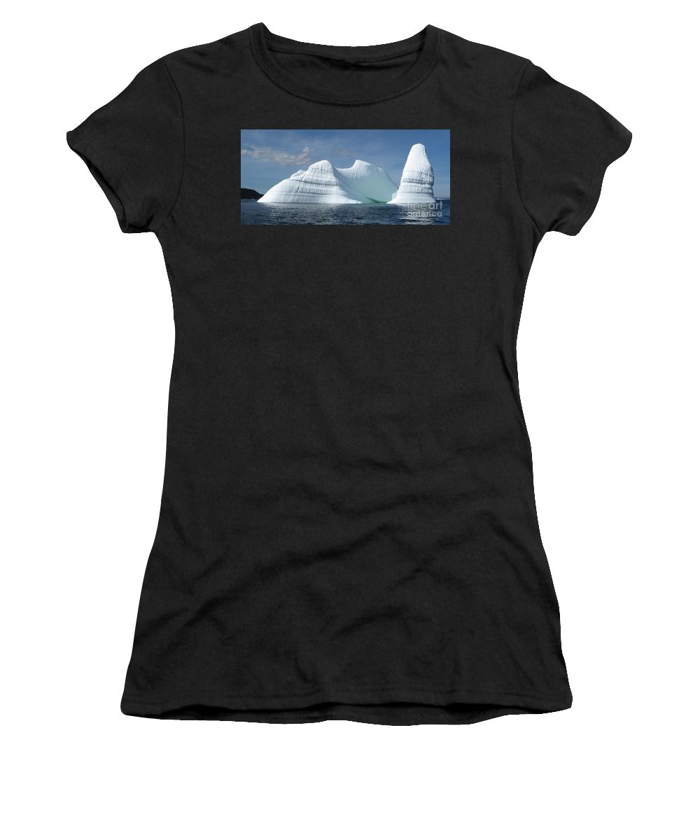 Iceberg Photograph Ice Water Ocean Sea Atlantic Summer Newfoundland Women's T-Shirt (Athletic Fit) featuring the photograph Iceberg by Seon-Jeong Kim