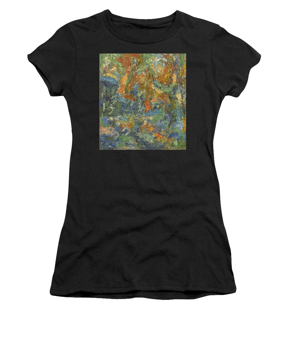 Impasto Painting Women's T-Shirt (Athletic Fit) featuring the painting Landscape by Robert Nizamov