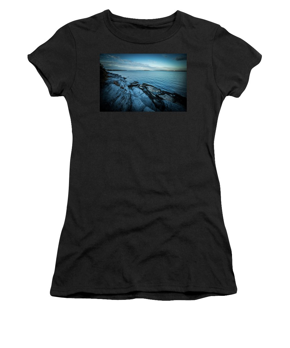 Sunrise Women's T-Shirt (Athletic Fit) featuring the photograph Newport Bridge Connecting Newport And Jamestown At Sunrise by Alex Grichenko