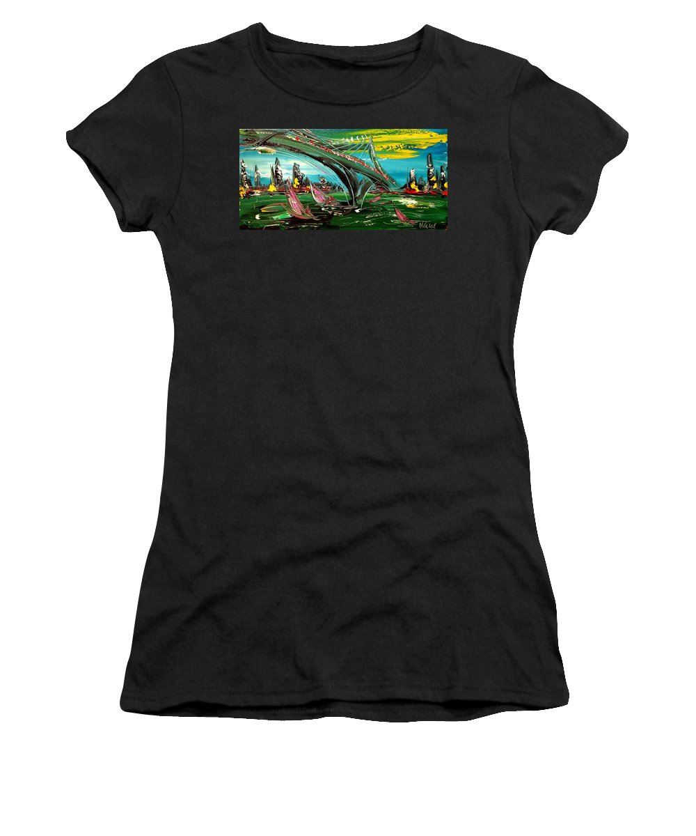 Surreal Framed Prints Women's T-Shirt (Athletic Fit) featuring the painting NYC by Mark Kazav