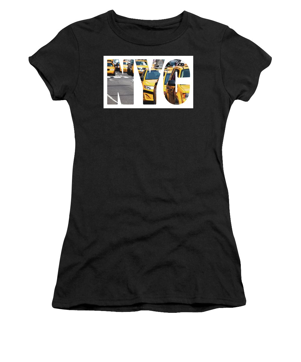 New Women's T-Shirt (Athletic Fit) featuring the photograph Yellow Cab Speeds Through Times Square In New York, Ny, Usa. by Mariusz Prusaczyk