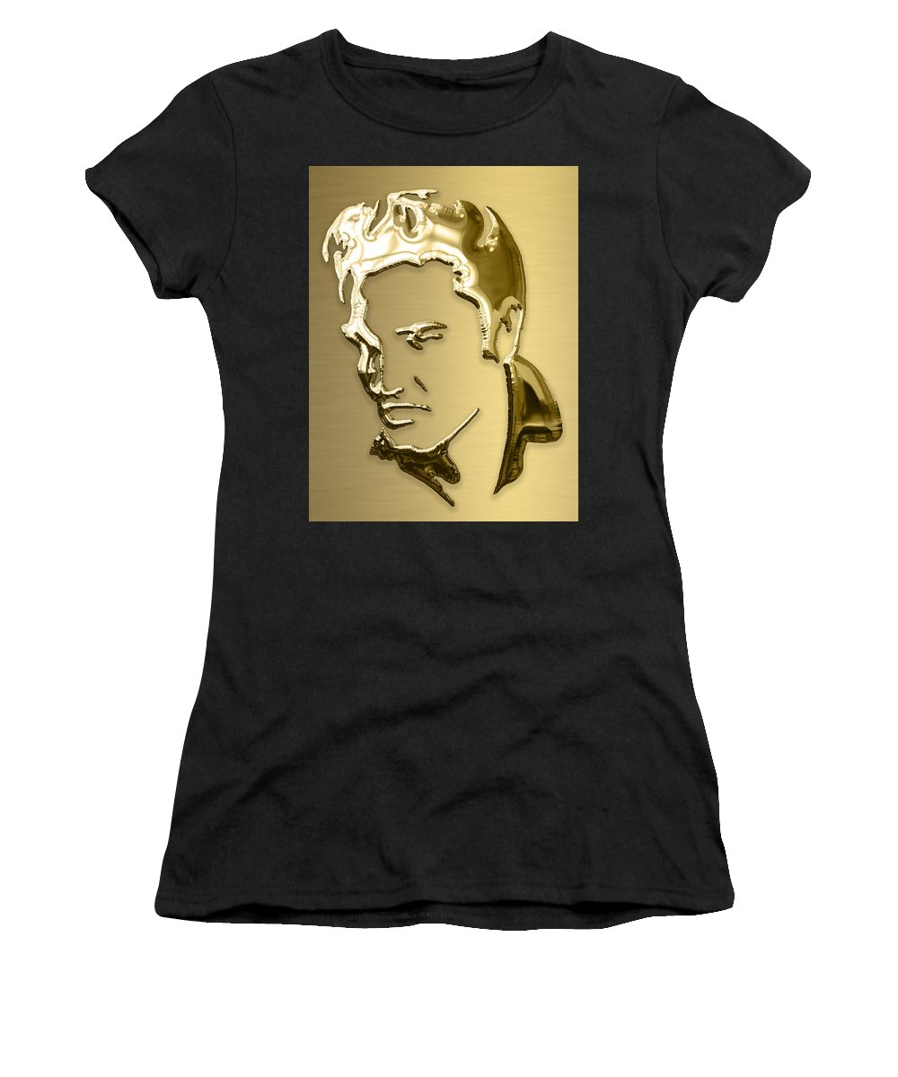 Elvis Art Women's T-Shirt (Athletic Fit) featuring the mixed media Elvis Presley Collection by Marvin Blaine