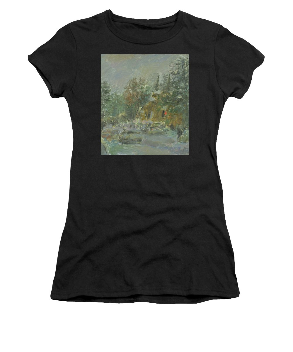 Snow Women's T-Shirt featuring the painting Winter by Robert Nizamov
