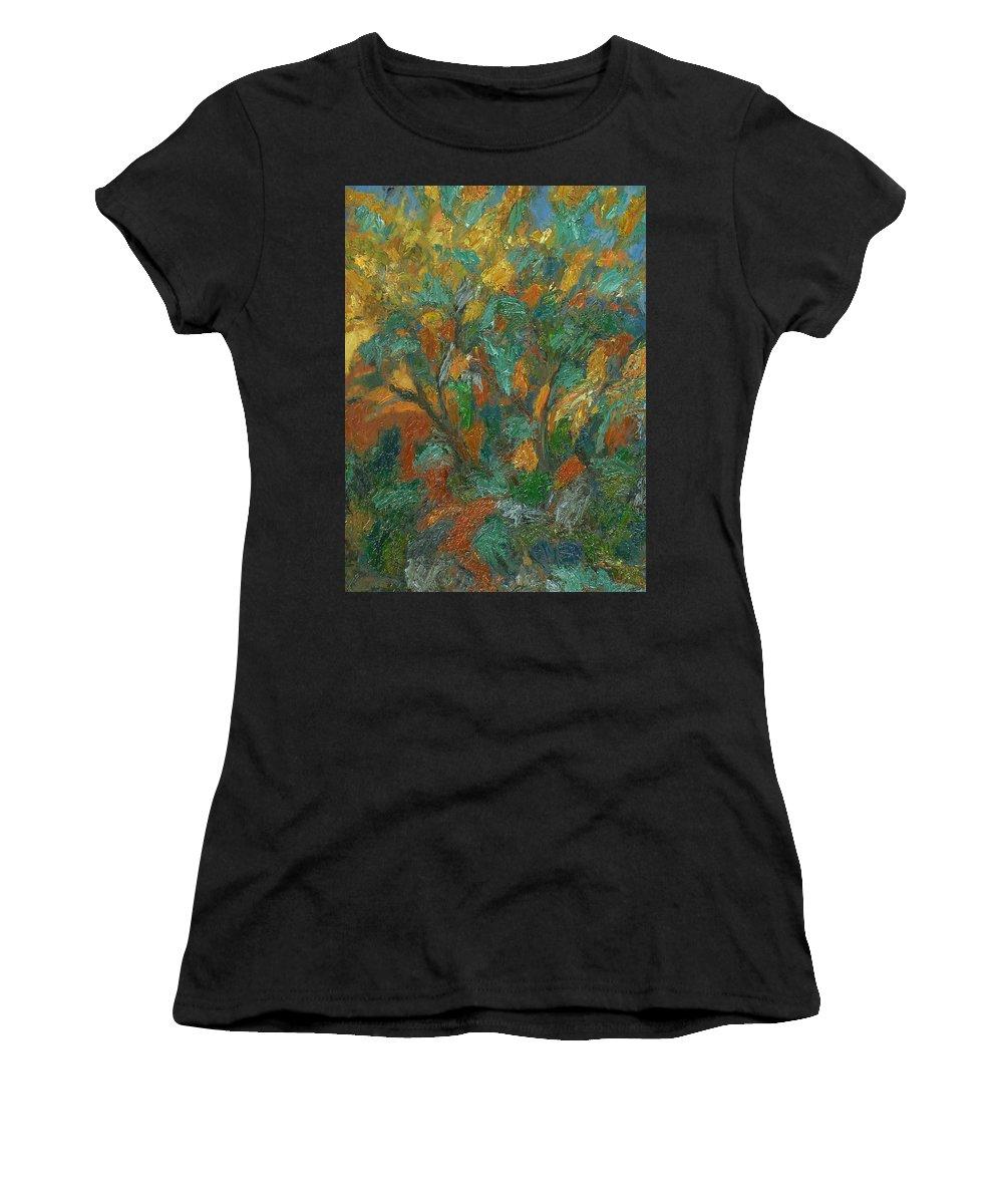 Sun Women's T-Shirt featuring the painting Tree by Robert Nizamov
