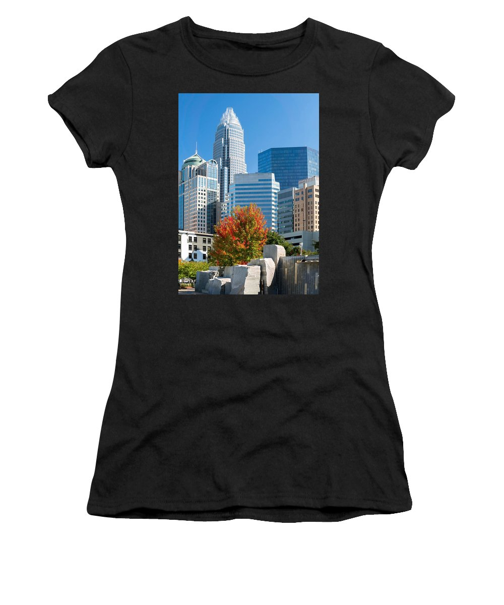 Park Women's T-Shirt (Athletic Fit) featuring the photograph Charlotte North Carolina Cityscape During Autumn Season by Alex Grichenko