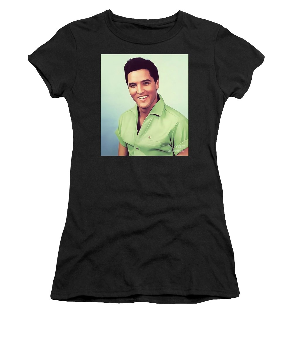 Music Women's T-Shirt (Athletic Fit) featuring the digital art Elvis Presley, Rock And Roll Legend by John Springfield